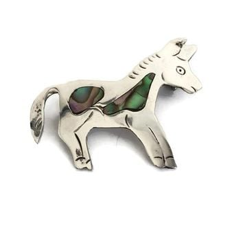 Sterling Silver Abalone Inlay Donkey Brooch Mexico, Signed Eagle Mark Small Silver Animal Pin, Vintage Estate Jewelry, Vintage Brooch