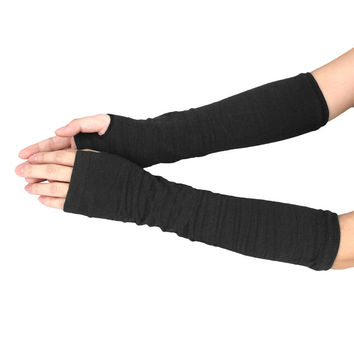 Feitong Spring Winter Women Ladies Girl Long Cashmere Blend Fingerless Gloves Arm Sleeve Warmers Mittens Arm Warmers 34cm