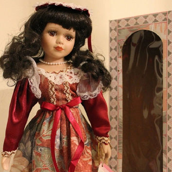"Diana, Brunette Porcelain Doll, 16"" Vintage Limited Edition Victorian Rose Collection, Red Dress with Stand."