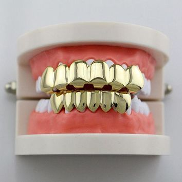 ONETOW GENBOLI Teeth Grillz Smooth Plane Teeth Braces Top & Bottom Teeth Grillz Body Jewelry Halloween Party Gift Hip hop hot sales