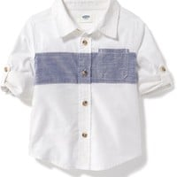 Color-Blocked Chest-Stripe Shirt for Toddler Boys | Old Navy