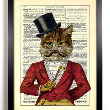 Casanova Cat With Monocle and Top Hat and Mustache Upcycled Dictionary Vintage Book Art Print Buy 2 Get 1 FREE