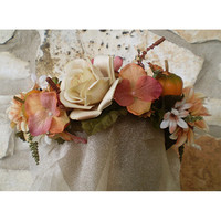 Pumpkin Cream Autumn floral head wreath fall bridal flowers women's renaissance costume accessory