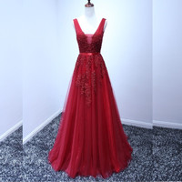 Lace Appliqued Evening Dresses Formal Beaded Burgundy/Coral/Turquoise/Blue/Yellow/Gray/Lavender Prom Gowns Custom Made Long