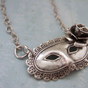 MASQUERADE BALL antique silver Victorian theater mask necklace with 3D silver  flower