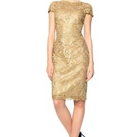 CORDED EMBROIDERY ON TULLE CAP SLEEVE DRESS