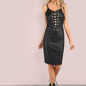 Faux Leather Eyelet Dress BLACK | MakeMeChic.COM