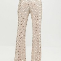 Missguided - Carli Bybel Nude Embellished Flared High Waist Pants