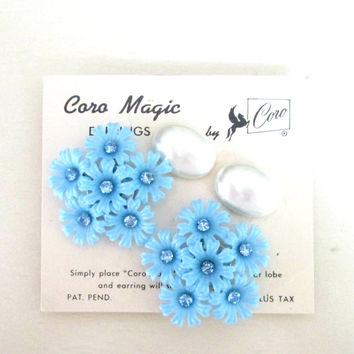 Coro Magic Magnetic Earrings Two Pair // Baby Blue Flower Spray Oval White Pearls