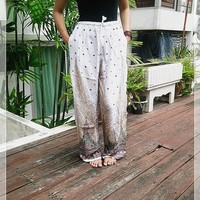 White Yoga Pants Baggy Boho Printed Hippie Gypsy Thai Tribal Aladdin Clothing Beach Casual Tank Trousers Dress Wild Legs Unisex Peacock