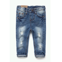 2016 New Style Kids Jeans Boys Girls Trousers Autumn Fashion Designer Children Denim Pants Casual Ripped Jeans For 2~8 Years