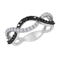 Black Diamond and Diamond Twist Ring 1/2ctw