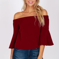 Off the Shoulder Flowy Top Merlot