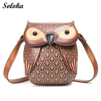 2017 New Cute Owl Shoulder Bag Purse Handbag Women Messenger Bags FOR Summer Girls Cartoon with Crossbody Phone Bag Owl Bag