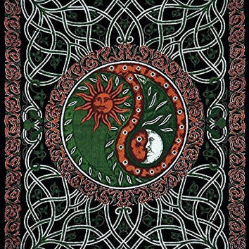 "India Arts Novelty Tapestry ~ Double & Full Sizes Available ~ 100% Cotton (Celestial Yin-Yang Green, Double (68"" X 102""))"