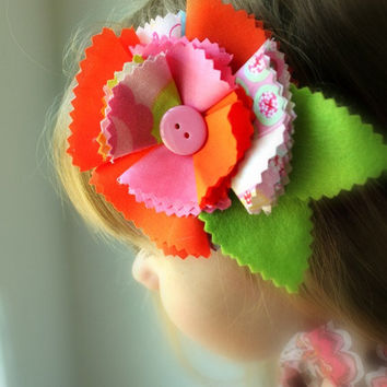Shabby Chic Cotton and Felt Fabric Flower Hair Clip Accessory for Girls
