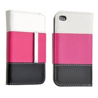 Neewer® Tri-Color Faux Leather Wallet Book Flip ID Card Case Folio Cover for Apple iPhone 4 4S (Pink/White/Black)