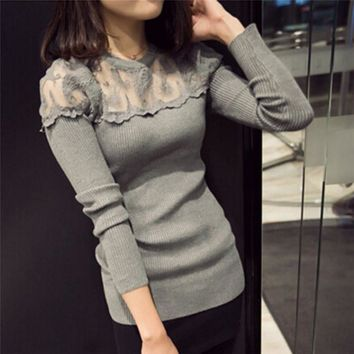 Crocheted Long Sleeve O-Neck Knitted Lace Sweater