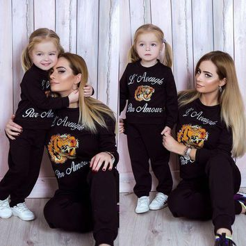 PEAPIH3 GUCCI Stylish Women Children Fashion Embroidery Top Sweater Pullover Pants Trousers Set Two-Piece-Parent-Child Outfit I