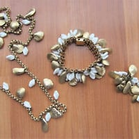 Vintage signed Napier seashell clamshell and white Milk Glass bead parure set