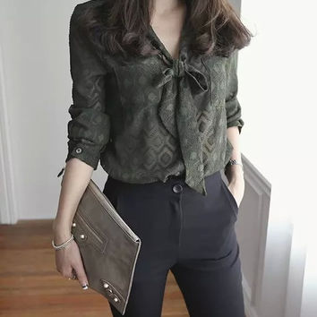 Army Green Patterned Long Sleeve V-Neck Bow Blouse