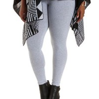 Plus Size Heather Gray Stretch Cotton Leggings by Charlotte Russe