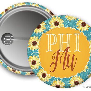 Phi Mu Sunflower Sorority Greek Button