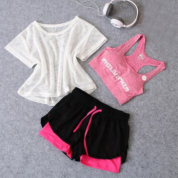 Hotsale women yoga three piece sets mesh t shirt+bra+shorts outdoor sports running fitness gym set womens training clothing