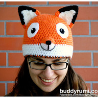PATTERN: Fox crochet hat pattern, winter accessory