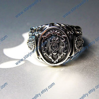Steampunk World of Warcraft Theme Alliance Ring---925sterling silver