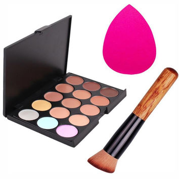 Pro Makeup Set 15 Colors Concealer Palette Foundation Sponge Puff Makeup Brushes Face Contour Comestic Make Up Tools Brand Kit