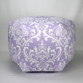 "24"" Floor Ottoman Pouf Wisteria & White - Damask Contemporary Lavender Lilac Modern Print"