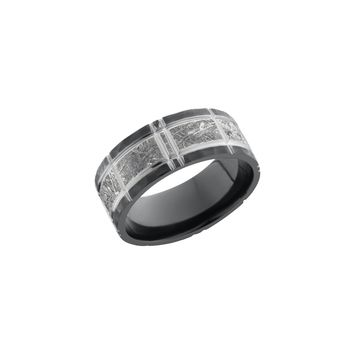 Meteorite and Back Zirconium Band Ring with Crosshatch