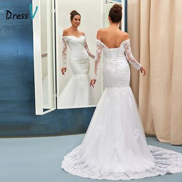 Dressv mermaid wedding dress ivory sexy off the shoulder long sleeves appliques lace up bridal gown court train wedding dresses