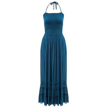 Sexy Halter Backless Adjustable Waist Ruffle Swing Dress for Women