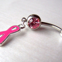 Navel Jewelry Body Jewelry Belly Ring Bellybutton Belly Button Ring  Pink Ribbon Breast Cancer Awareness