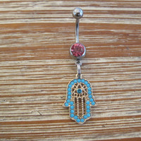 Belly Button Ring - Body Jewelry - Turquoise Beaded Hamsa Hand with light pink Gem Stone Belly Button Ring