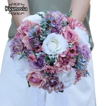 Kyunovia Plain Color Bridal Bouquet Wedding Centerpieces Blush Pink Artificial Silk Flowers Bouquets for Wedding Decoration FE81