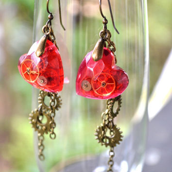 Red Heart Steampunk Earrings – Resin Jewellery Dangle Style Faceted Hearts, Watch Parts Jewelry Steampunk Gears