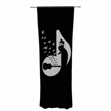 "BarmalisiRTB ""Musical Note - Acoustic Guitar"" Black White Digital Decorative Sheer Curtain"