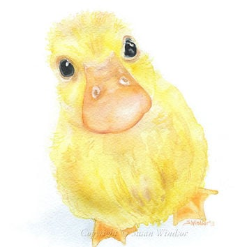 Duckling Watercolor Painting Fine Art Print Giclee Print 11 x 14