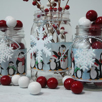 Penguin Holiday Christmas decor set of 3 Mason Jars, Christmas table decor, Christmas decorations, Holiday decorations