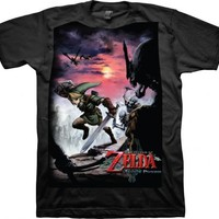 Nintendo Legend of Zelda Twilight Princess Scene Black Adult T-shirt