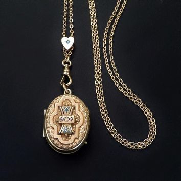 Antique Victorian Enamel LOCKET Heart Slide Long Watch CHAIN Sautoir
