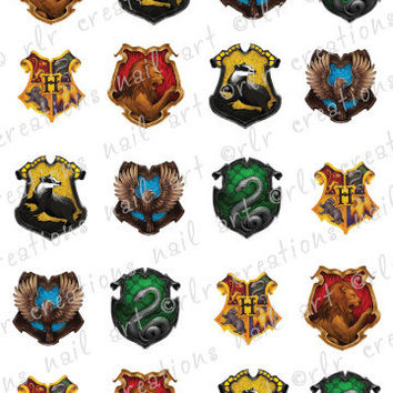 20 Assorted HARRY POTTER HOGWARTS Crest Water Slide Nail Decals Choose Gryffindor, Hufflepuff, Ravenclaw Slytherin or Assortment