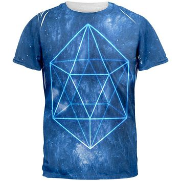 Sacred Geometry Icosahedron Crystal Wind All Over Mens T Shirt