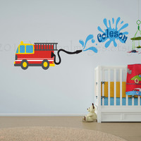 Fun personalized fire truck vinyl wall decal, home decor, housewares, wall art