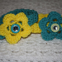 Soft Blue and Yellow Sized Newborn with Bling- Adult headband- Ready to ship, Photo Prop Pick one, or set