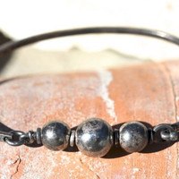 Beaded Sterling Silver Bangle Bracelet