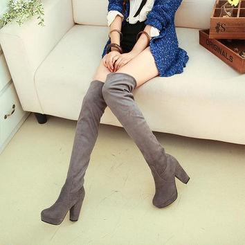 Autumn New Women Over The Knee Boots Thick Heel Women's Nubuck Suede Leather long Boots Women High Heels Fashion Boots C962